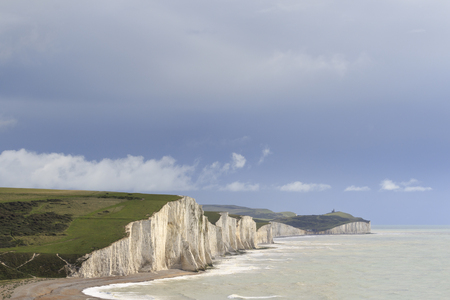 south downs: Seven Sisters Cliffs in the south downs sussex UK