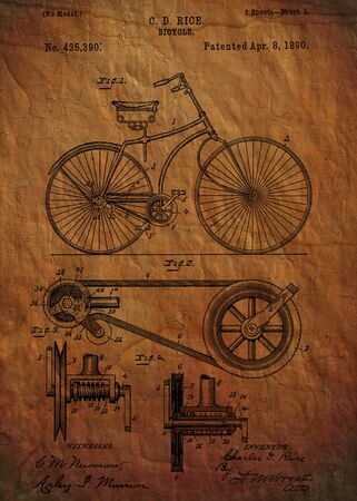 fine art: Bicycle patent from 1890 Patent Art - Fine Art Photograph Based On Original Patent Artwork Researched  And Enhanced From Us Patent Office