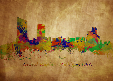fine print: Watercolor art print of the Skyline of Grand Rapids  Michigan USA