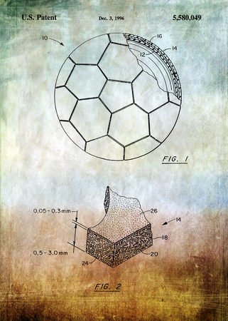 patent: Football patent Photograph - Patent Art - Fine Art Photograph Based On Original Patent Artwork Researched  And Enhanced From Us Patent Office Stock Photo