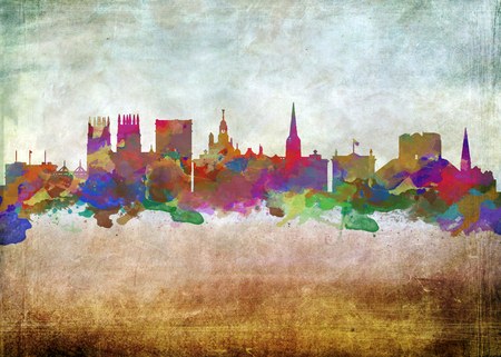 fine print: Watercolor art print of the Skyline of  York England