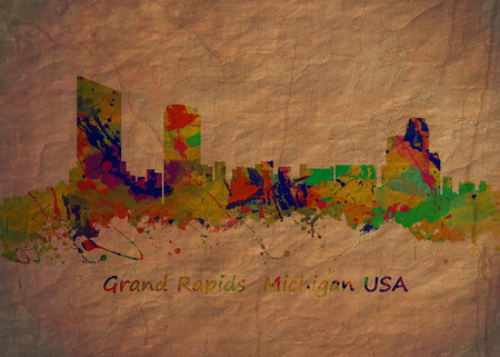 rapids: Watercolor art print of the Skyline of Grand Rapids  Michigan USA