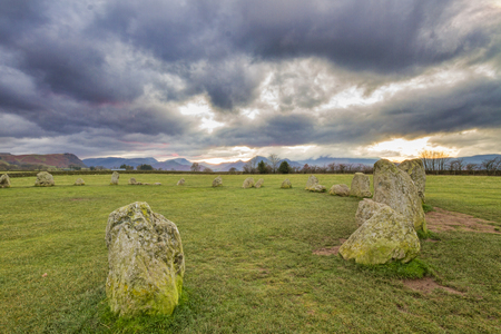 lake district: Castlerigg Stone Circle is situated near Keswick in the Lake District UK