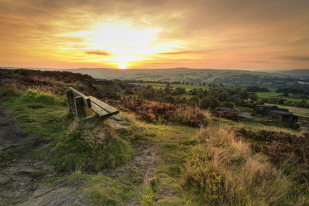 moor: Sunset at Norland moor, Halifax , West Yorkshire