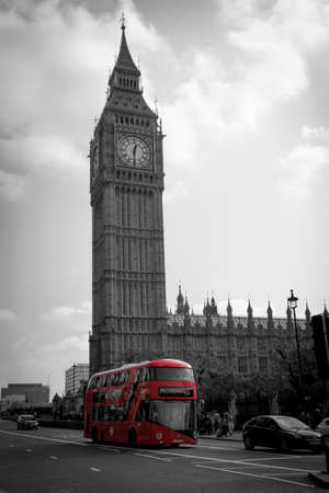 bigben: LONDON, UK - October 04, 2015: Double Decker Bus, most iconic symbol of London, and Big Ben.