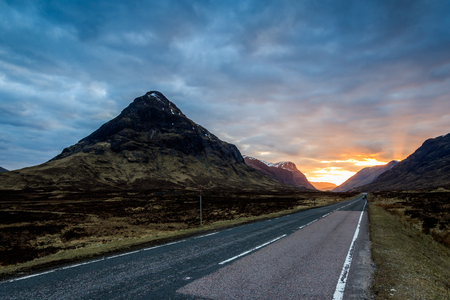 highland: Beaytiful Sunset on the road to Glencoe, Scotland.