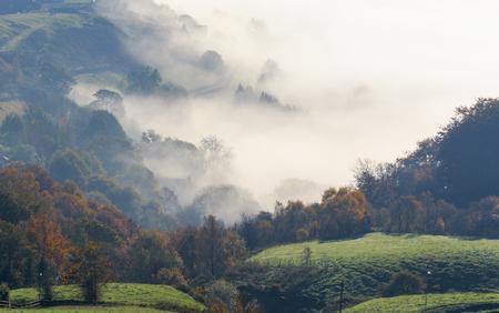 evocative: Foggy morning in west Yorkshire UK Stock Photo