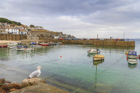 Mousehole Cornwall - October 22, 2014. Historic fishing harbour Mousehole Cornwall England UK Editorial