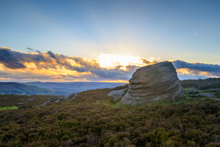 A beautiful sunset beam in the Peak District
