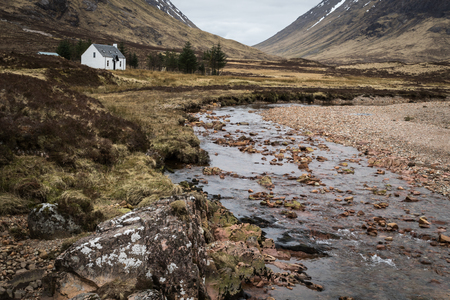 glencoe: White Cottage in Glencoe Scotland, UK Stock Photo