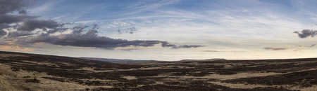 moors: Panoramic View of the moors in West Yorkshire at sunset. Stock Photo