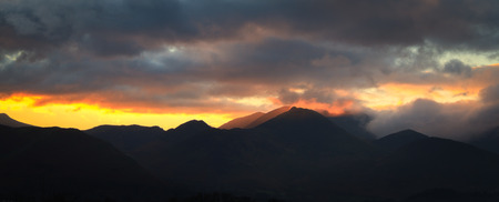 fells: Sunset over the fells in the lake district UK