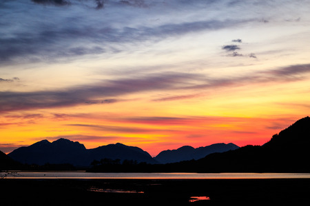 Sun setting over Loch Leven, Scotland. Stock Photo