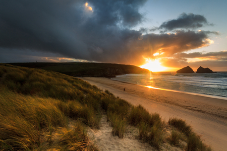 sunset over Holywell Bay Beach  Cornwall England UK
