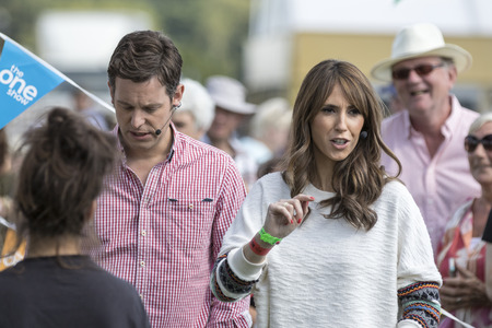 Harrogate, England - July 15th, 2015: Alex Jones and matt baker rehearsal for  the One show at The Great Yorkshire Show 15th July, 2015 at Harrogate in North Yorkshire,  England