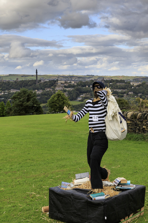 """Norland, Halifax, West Yorkshire, UK 2nd September, 2016. Norland Scarecrow Festival 2nd Sept - 5th Sept 2016. This years theme is """"books"""" The Norland Scarecrow festival has been held every year since 2000 and raises money for the village and local c Editorial"""
