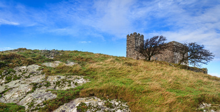 brent: Brentor church perched on a rocky hilltop on Dartmoor National Park in devon