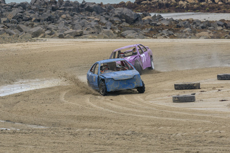 Vazon bay, Guernsey UK-September 18th 2016: Guernsey Motor Cycle Car Club LBG sand racing at low tide at Vazon Bay, Guernsey, Channel Islands