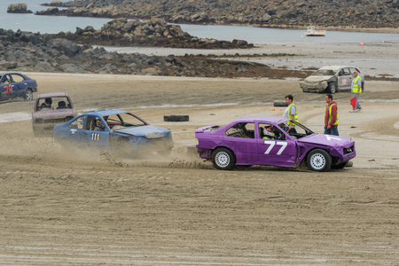 guernsey: Vazon bay, Guernsey UK-September 18th 2016: Guernsey Motor Cycle Car Club LBG sand racing at low tide at Vazon Bay, Guernsey, Channel Islands