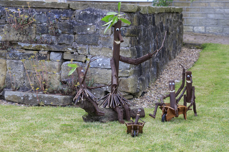 """Norland, Halifax, West Yorkshire, UK 2nd September, 2016. Stick man, Norland Scarecrow Festival 2nd Sept - 5th Sept 2016. This years theme is """"books"""" The Norland Scarecrow festival has been held every year since 2000 and raises money for the village  Editorial"""