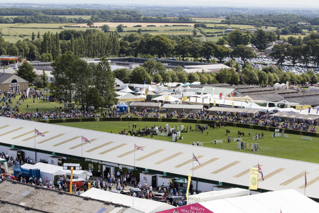 Harrogate, North Yorkshire, UK. 15th July, aerial view of the Great Yorkshire Show 15th July, 2015 at Harrogate in North Yorkshire,  England Editorial