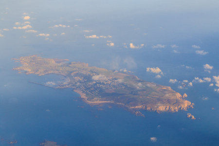 Alderney Channel Islands taken from a plane