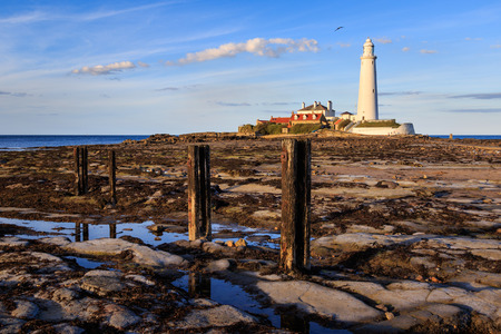 st: St Marys Lighthouse north of Whitley Bay on the  North East coast of  England. At low tide.