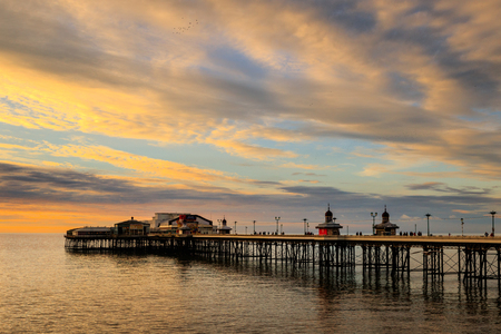 Blackpool north pier at sunset in winter Stock Photo