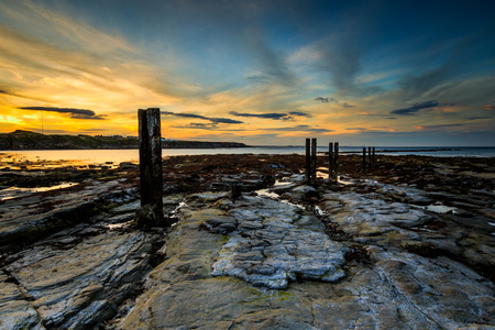 St Marys Lighthouse north of Whitley Bay on the  North East coast of  England. At low tide.