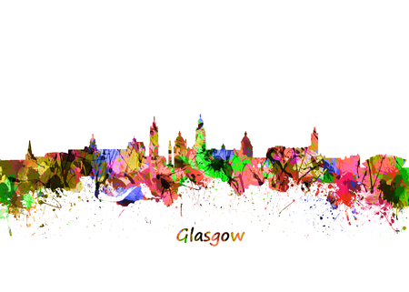 Glasgow Art Watercolor art print of the skyline of Glasgow, Scotland, United Kingdom
