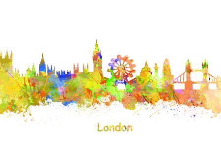 London Art Watercolor art print of the skyline of London United Kingdom Stock Photo