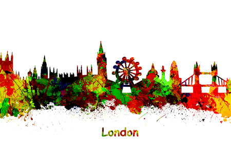London Art Watercolor art print of the skyline of London United Kingdom Stock Photo