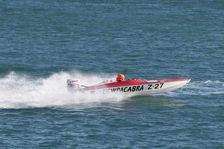 St peter port, Guernsey UK-September 17th 2016: Guernsey Powerboat Association racing at Havelet Bay