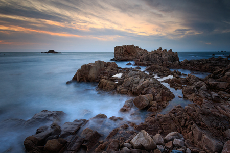Sunset in Guernsey, channel islands with long exposure