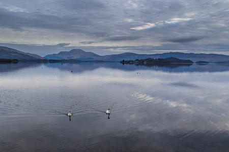 Calm and tranquil sunrise, Loch Lomond, Scotland