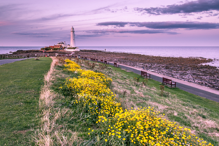St Mary's Lighthouse north of Whitley Bay on the  North East coast of  England. At low tide.