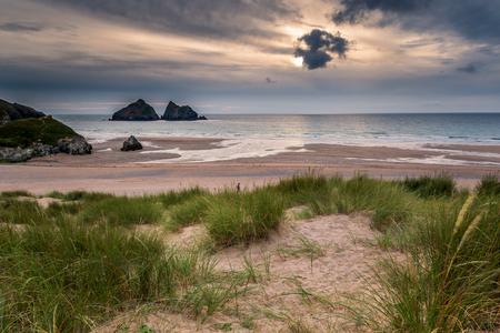 The beautiful beach at Holywell Bay on the North Cornwall coast, England. 写真素材