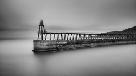 Long exposure of Whitby Pier, Whitby, North Yorkshire, UK.