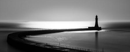 Roker pier in black and white, Sunderland UK.