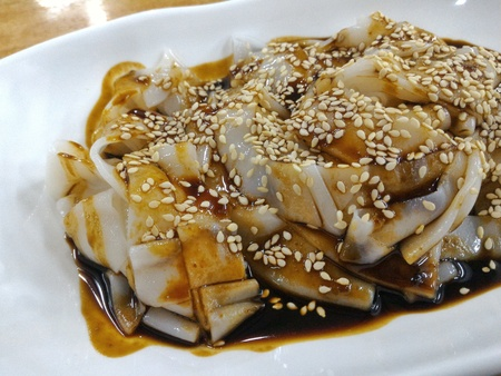 sesame street: Chee Cheong Fun or Rice Noodle Roll is a popular dish in Malaysia and Singapore. It originates from Southen China.