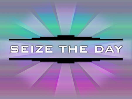 seize: Seize the day text on multicolored background