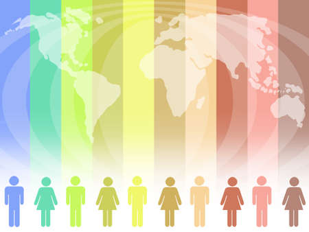 racial diversity: Diversity concept with the world map in the background