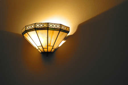 sconce: Mission style wall sconce in color Stock Photo