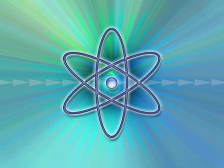 caution chemistry: Nuclear symbol on an abstract blue and green background