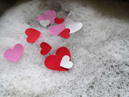 soapy water: Red, White and Pink hearts in soapy water Stock Photo