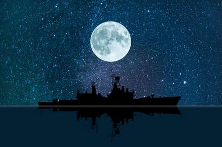 ww2: Battleship under a full moon on the ocean