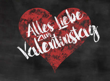 Words Alles Liebe Zum Valentinstag Written On Blackboard With Red Heart