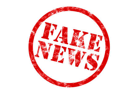 bogus: rubber stamp print in red with words fake news on white background