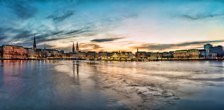 Hamburg cityscape with Alster Lake at sunset panorama Stock Photo