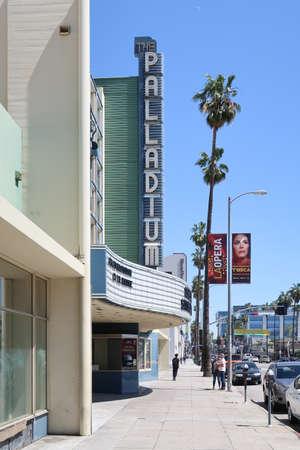 Los Angeles, California, USA 04.01.2017 Hollywood Palladium theater on Sunset Boulevard under blue sky